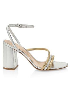 Bekah Block-Heel Metallic Leather Sandals