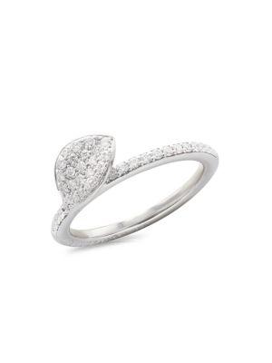 Petit Garden 18K White Gold & Diamond Pavé Leaf Ring