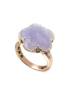 Bon Ton 18K Rose Gold, Chalcedony & Diamond Ring