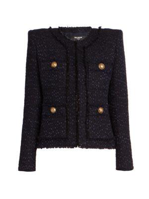 Collarless Tweed Jacket