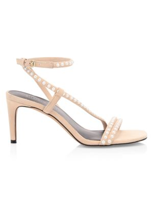 Nanine Faux Pearl-Embellished Leather Sandals