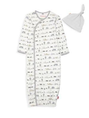 Baby Boy's Dig In 2-Piece Sleeping Gown & Hat Set