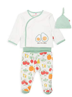 Baby's Perfect Puns Avocado 3-Piece Hat, Top & Footie Pants Set