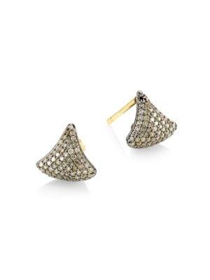 Black Rhodium-Plated Silver & Diamond Triangular Stud Earrings