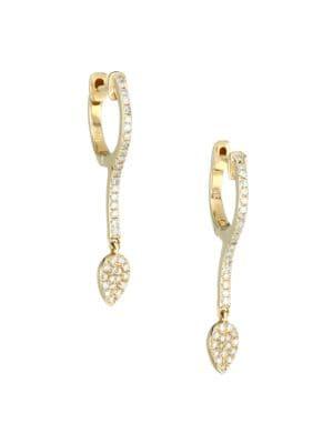 14K Yellow Gold & Diamond Charm Huggie Hoop Earrings