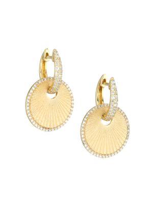 14K Yellow Gold & Diamond Disc Huggie Hoop Earrings