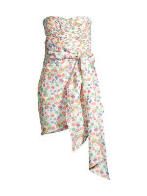 Taffeta Floral Tie Strapless Dress