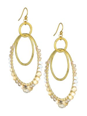 18K Goldplated & Mixed Stone Double Hoop Earrings