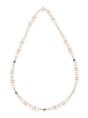 Sabbia 18K Rose Gold, Black Diamond, Brown Diamond & White Diamond Link Necklace