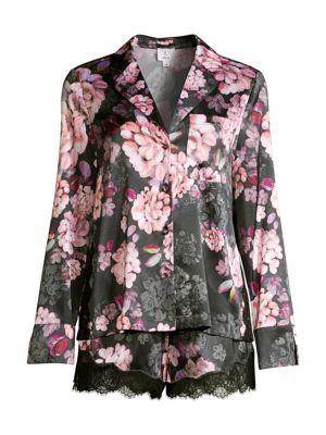 Poppy 2-Piece Dahlia Stretch-Silk Pajama Set