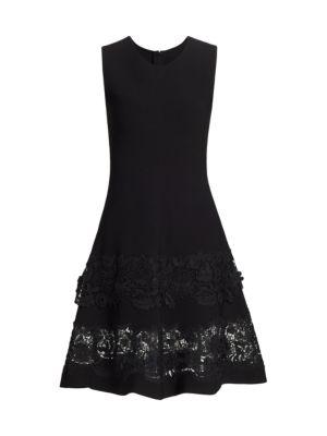 Sleeveless Lace-Hem Fit-&-Flare Dress