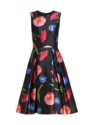 Sleeveless Floral Silk-Blend A-Line Dress