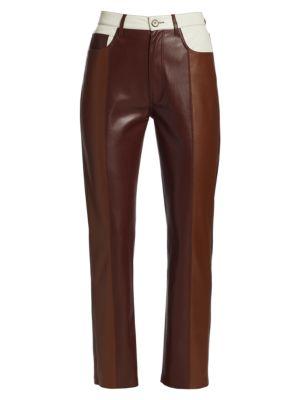 Vinni Patch Print Vegan Leather Pants