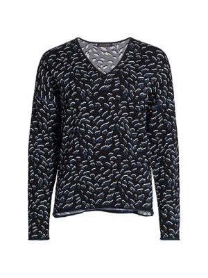 Jacquard Lurex Wool-Blend V-Neck Sweater