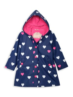 Little Girl's & Girl's Striped Hearts Color-Changing Raincoat