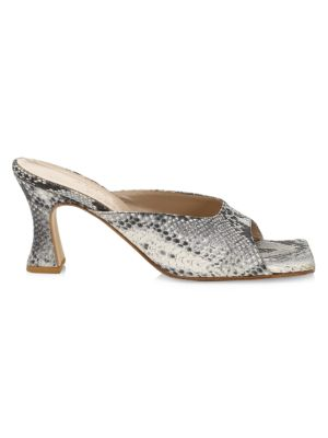 Marion Snakeskin-Embossed Leather Mules