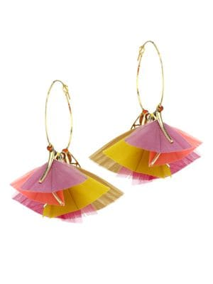 Marly 2-Piece 24K Gold Feathered Hoop Earrings