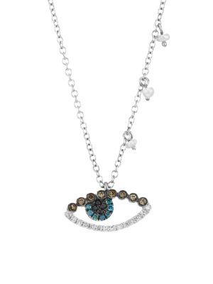14K White Gold & Multilcolor Diamond Evil Eye Necklace