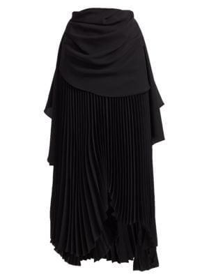 High-Waist Pleated Maxi Skirt
