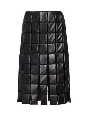 Vegan Leather Paneled Skirt