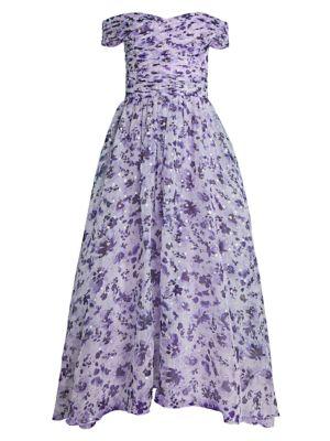 Meraki Off-The-Shoulder Silk-Blend Dress