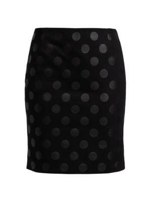 Lacquered Polka Dot Mini Skirt