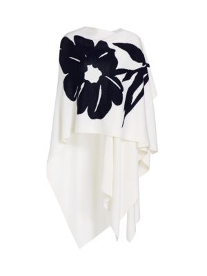 Floral Intarsia Wool Cape