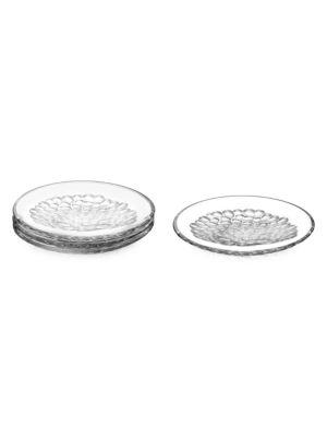 Pearl 4-Piece Glass Dessert Plate Set