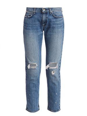 Dre Low-Rise Distressed Slim Boyfriend Jeans