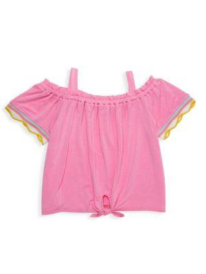 Little Girl's Off-The-Shoulder Tie-Front Top