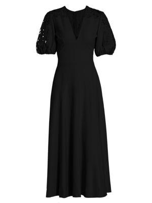 Lace-Sleeve Crepe Midi Dress