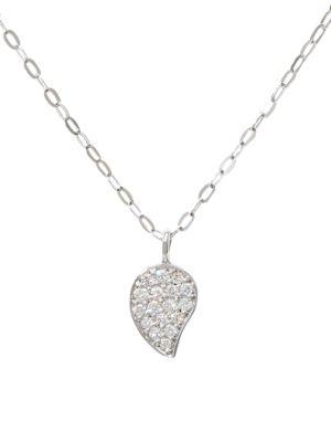 18K White Gold & Diamond Pavé Drop Pendant Chain Necklace
