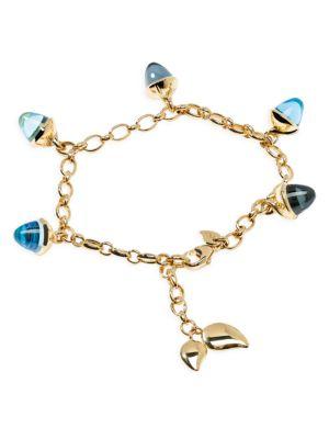 Mikado Flamenco 18K Yellow Gold & Blue Multi-Stone Acorn Charm Bracelet