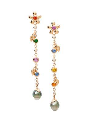 India Dream Candy 18K Rose Gold & Multi-Stone Pearl Drop Earrings