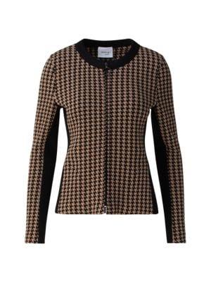 Houndstooth Jersey Zip-Front Jacket