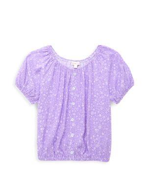 Little Girl's & Girl's Floral Balloon-Sleeve Top