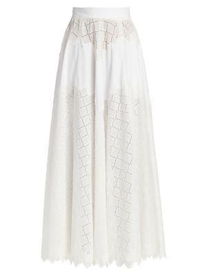 Diamond Eyelet Full Maxi Skirt