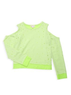 Little Girl's & Girl's Cold Shoulder Cropped Sweater
