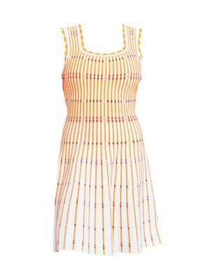 Two-Tone Pinstripe Knit A-Line Dress