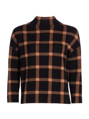 Milano Wool Knit Mockneck Check Sweater
