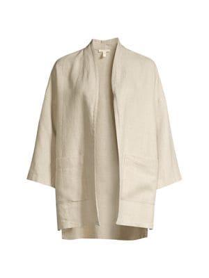 Linen Open-Front Jacket