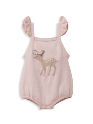 Baby Girl's Fawn Bubble Romper