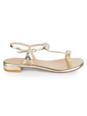 Ballsoffire Embellished Metallic Leather Toe-Loop Sandals