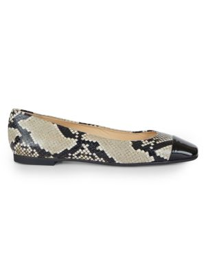 Gloris Square-Toe Snakeskin-Embossed Leather Ballet Flats