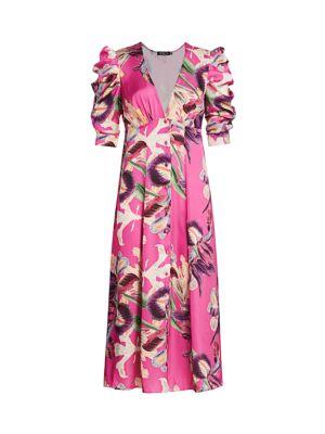 Grace Floral Puff-Sleeve Midi Dress