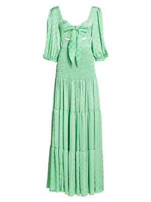 Satin Dot Puff-Sleeve Cutout Maxi Dress