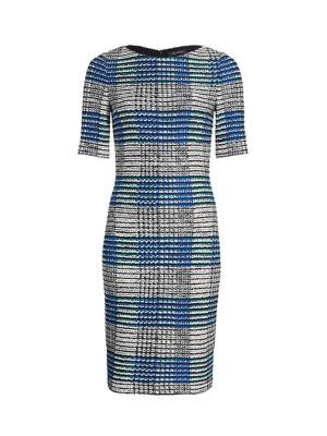 Ribbon Plaid Knit Bateau Neck Sheath Dress