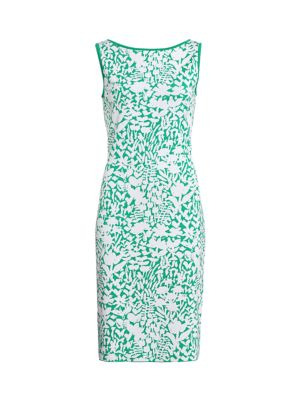 Floral Jacquard Knit Sheath Dress