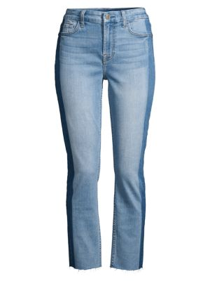 Shadow-Seam Straight Ankle Jeans