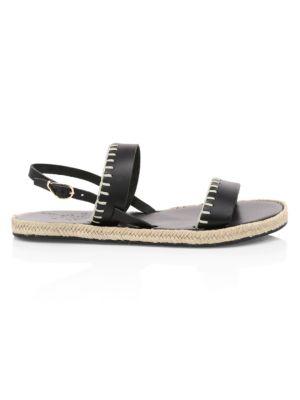 Clara Whipstitch Leather Espadrille Slingback Sandals